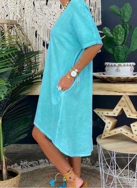 Blue Plus Size Tunic Solid V-Neckline Casual Pockets Plus Dress_1