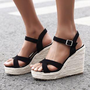 Women's Peep Toe Nubuck Wedge Heel Sandals_3