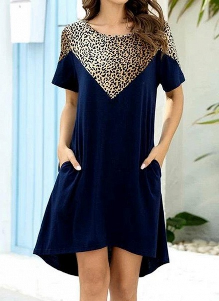 Burgundy Plus Size Tunic Leopard Round Neckline Casual Pockets Plus Dress_9