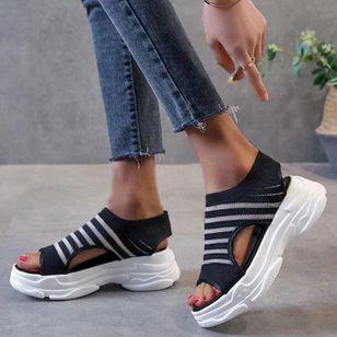 Women's Mesh Round Toe Fabric Flat Heel Sandals_1