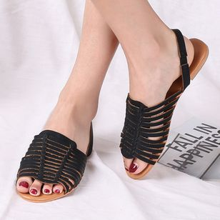Women's Braided Strap Slingbacks Flat Heel Sandals_6