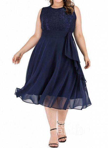 Dark Blue Plus Size Solid Round Neckline Casual Midi X-line Dress Plus Dress_7