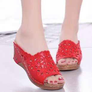 Women's Hollow-out Flower Slingbacks Wedge Heel Sandals_4
