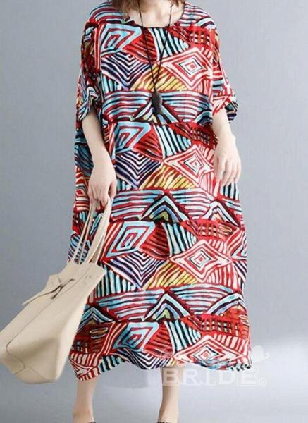 Red Plus Size Tunic Color Block Round Neckline Casual Pockets Plus Dress_2