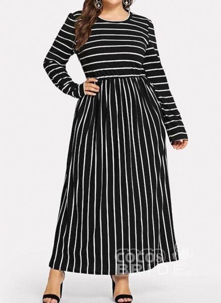 Black Plus Size Tunic Stripe Round Neckline Casual Maxi Plus Dress_3