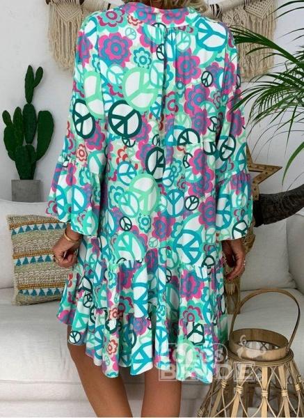 Blue Plus Size Peasant Floral V-Neckline Boho Above Knee Plus Dress_4