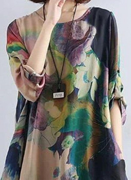 Multicolor Tunic Floral Round Neckline Casual Pockets Plus Dress_1