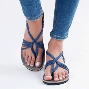 Women's Braided Strap Flip-Flops Cloth Flat Heel Sandals_2