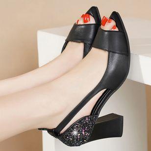 Women's Sequin Heels Spool Heel Sandals_3