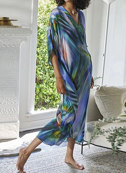 Brown Plus Size Color Block V-Neckline Casual Arabian Maxi Shift Dress Plus Dress_7