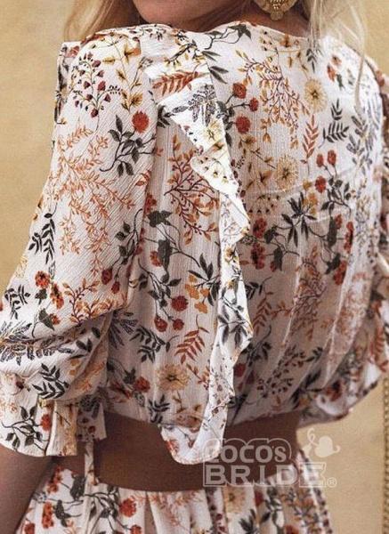 Apricot Boho Floral V-Neckline Maxi X-line Dress_3