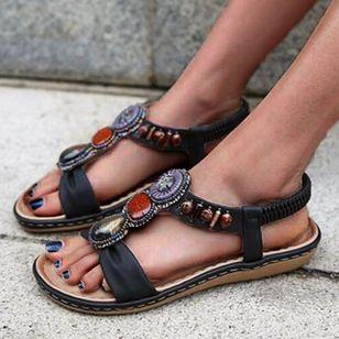 Women's Beading Round Toe Flat Heel Sandals_3
