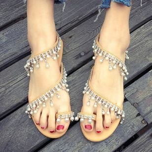 Women's Pearl Tassel Toe Ring Flat Heel Sandals_3
