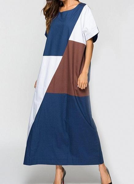 Blue Plus Size Tunic Color Block Round Neckline Casual Maxi Plus Dress_1