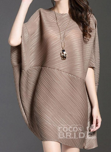 Dark Blue Plus Size Tunic Solid Round Neckline Elegant Above Knee Plus Dress_3