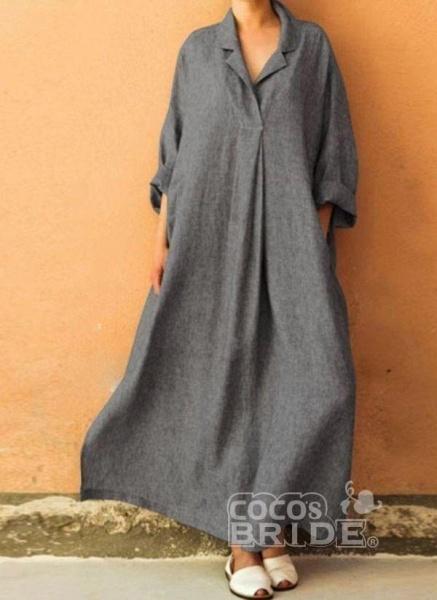 Black Plus Size Solid Collar Casual Maxi A-line Dress Plus Dress_2