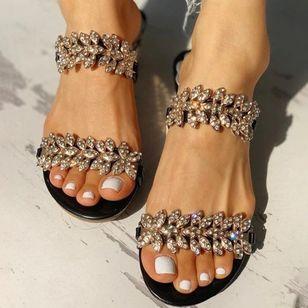 Women's Sequin Flower Slingbacks Flat Heel Sandals_3