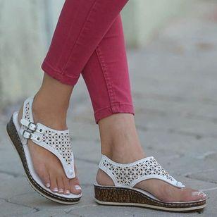 Women's Buckle Hollow-out Flip-Flops Wedge Heel Sandals_1
