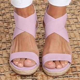 Women's Leopard Zipper Round Toe Heels Wedge Heel Sandals_4