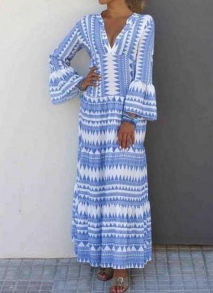 Casual Geometric Tunic V-Neckline Shift Dress_2