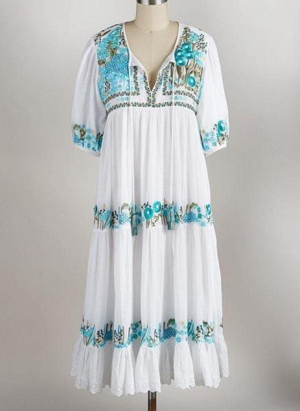Mint Green Plus Size Tunic Floral V-Neckline Boho Tassel Plus Dress_1