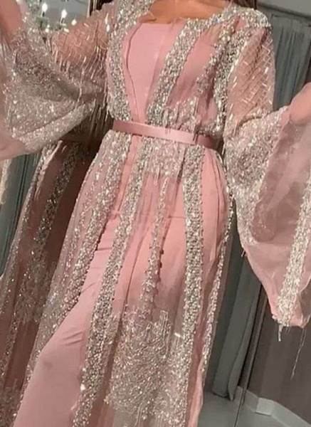 Elegant Color Block Pencil Round Neckline Sheath Dress_2