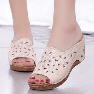 Women's Hollow-out Flower Slingbacks Wedge Heel Sandals_2