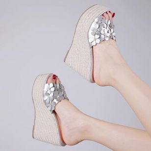 Women's Flower Peep Toe Wedge Heel Sandals_2