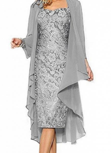 Casual Solid Pencil Square Neckline Sheath Dress_4