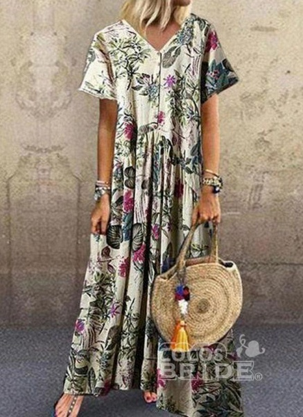 Dark Blue Plus Size Tunic Floral V-Neckline Casual Maxi Plus Dress_2