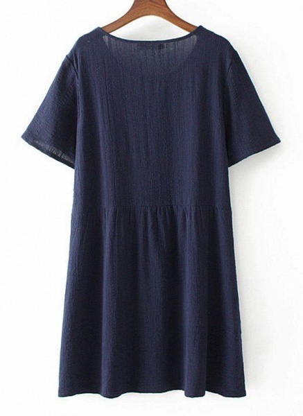 Dark Blue Plus Size Tunic Solid Round Neckline Casual Above Knee Plus Dress_1