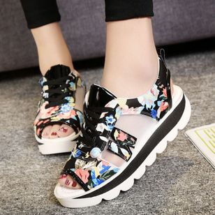 Women's Lace-up Hollow-out Flower Peep Toe Slingbacks Wedge Heel Sandals_4