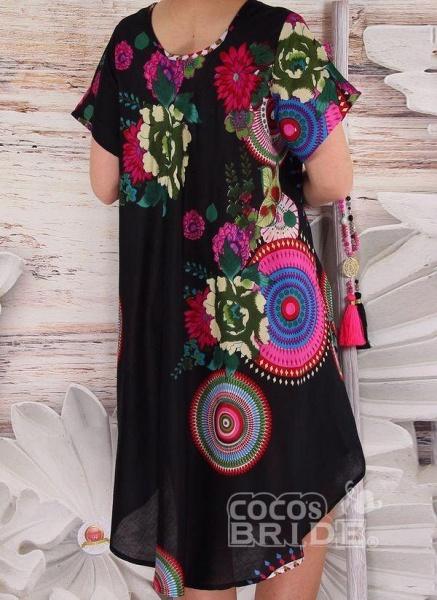 Black Plus Size Color Block Round Neckline Casual Knee-Length Shift Dress Plus Dress_3