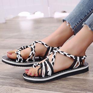 Women's Knit Toe Ring Nubuck Flat Heel Sandals_5