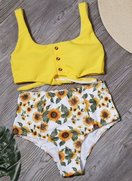 Polyester Knotted Floral Bikinis Swimwear_6