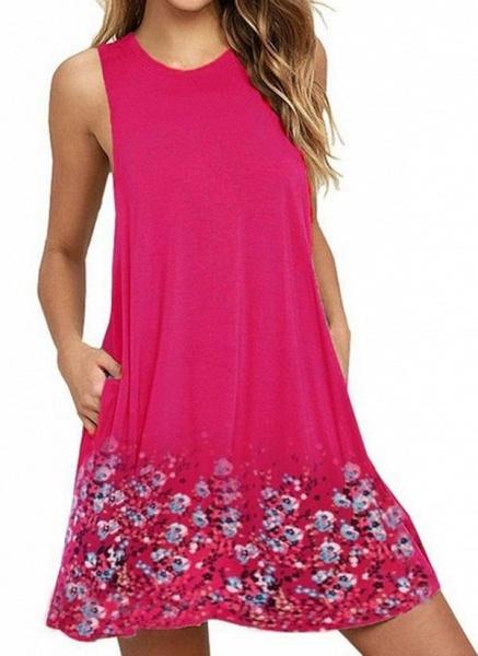 White Plus Size Tunic Floral Round Neckline Casual Pockets Plus Dress_7