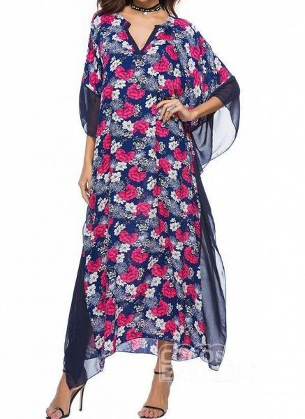 Blue Plus Size Tunic Floral V-Neckline Casual Maxi Plus Dress_3