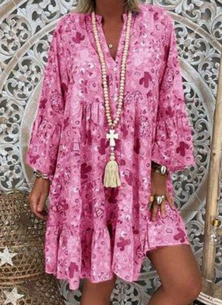 Pink Plus Size Tunic Floral V-Neckline Casual Above Knee Plus Dress_1