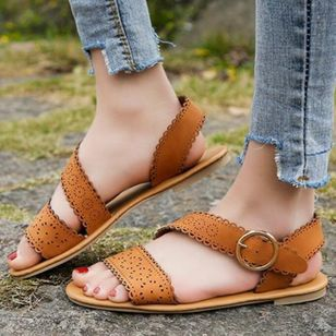 Women's Buckle Flats Slingbacks Flat Heel Sandals_5
