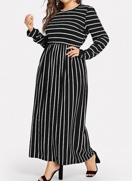 Black Plus Size Tunic Stripe Round Neckline Casual Maxi Plus Dress_1
