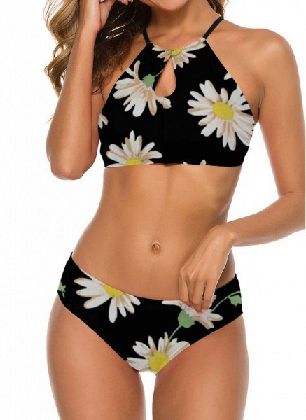 Nylon Halter Pattern Floral Bikinis Swimwear_4