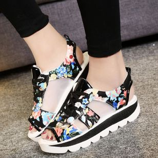 Women's Lace-up Hollow-out Flower Peep Toe Slingbacks Wedge Heel Sandals_1