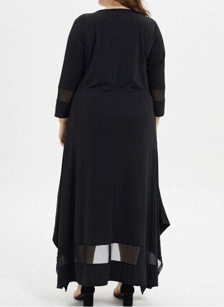 Black Plus Size Tunic Solid Round Neckline Casual Pockets Plus Dress_3