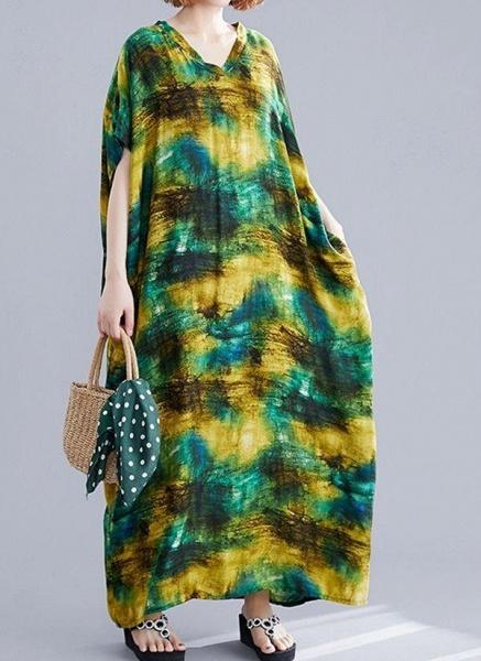 Green Plus Size Tunic Color Block V-Neckline Maxi Plus Dress_1