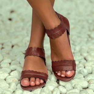 Women's Zipper Leatherette Low Heel Sandals_4
