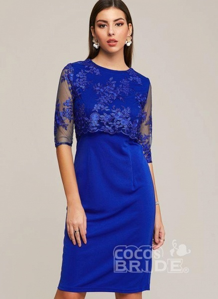 Blue Plus Size Solid Round Neckline Elegant Midi X-line Dress Plus Dress_5