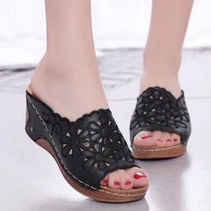 Women's Hollow-out Flower Slingbacks Wedge Heel Sandals_3