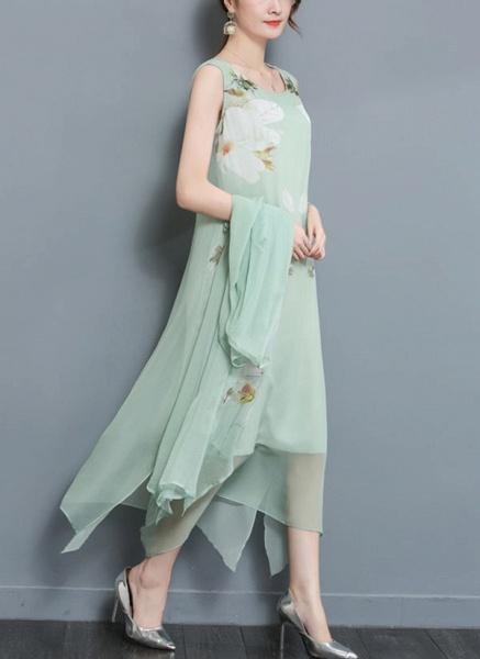 Floral Wrap Round Neckline Maxi A-line Dress_1