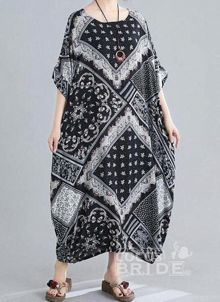 Black Plus Size Tunic Geometric Round Neckline Casual Maxi Plus Dress_2