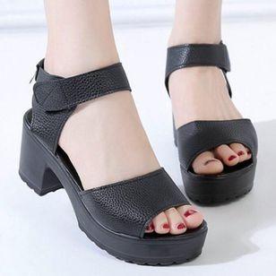 Women's Velcro Ankle Strap Slingbacks Chunky Heel Sandals_3